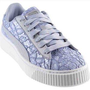 Puma Basket Platform Lace-up Lace Sneaker Blue 6.5